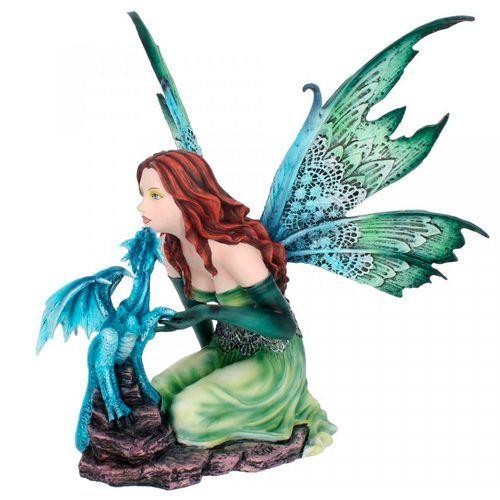 Figura hada y dragón azul