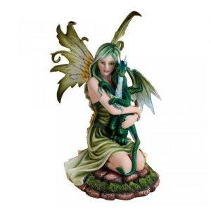 Figura hada dragón verde
