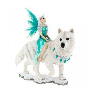Figura hada lobo blanco